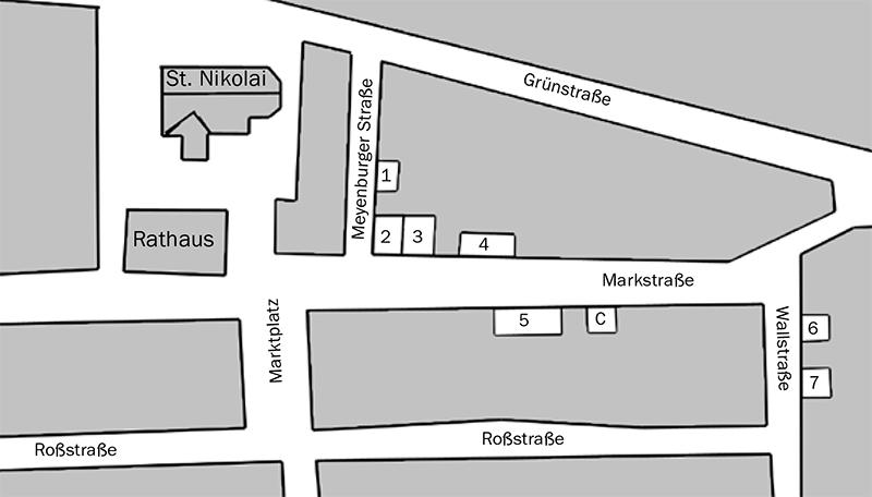 Überblick über die sieben Läden und das Café