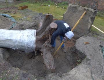 26 Grabungsarbeiten in Forst, Lausitz